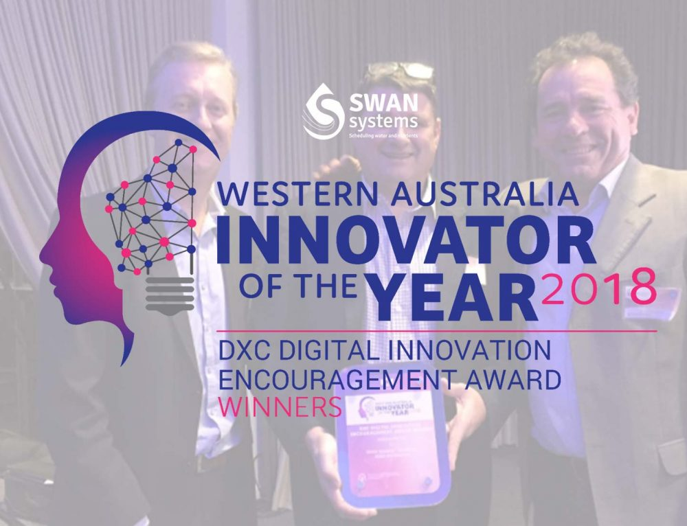 SWAN Systems wins the DXC Digital Innovation Encouragement Award at the 2018 WA Innovator of the Year Awards.